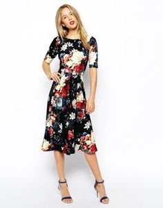 Closet | Closet Midi Skater Dress in Autumn Floral Print at ASOS