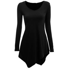FancyqubeTM Womens Handkerchief Hem Long Sleeve Knit Tunic Top Shirt Dress Black L -- More info could be found at the image url.Note:It is affiliate link to Amazon.