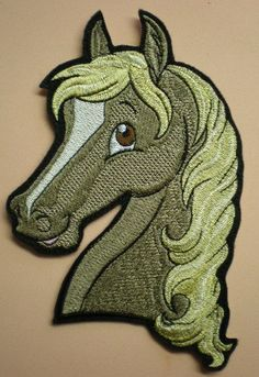 Large 7 1/4  X 4 1/2 Inches Embroidered Horse Applique Patch, Iron On or Sew On Applique, Childrens Clothing, Totebags, Backpacks, Patch