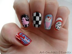 50's Diner themed Nail art