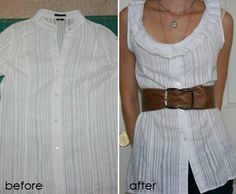 Pleated shirt refashion diy