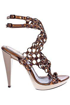 pinterest.com/fra411 #shoes - Roberto Cavalli Metal Mesh Sandal Spring-Summer 2011 #Shoes #Heels