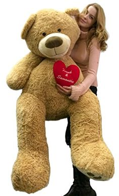 Personalized His Name and Her Name Embroidered on Giant Love and Romance Teddy Bear 5 Feet Tall Soft Valentines Day or Any Day Gift