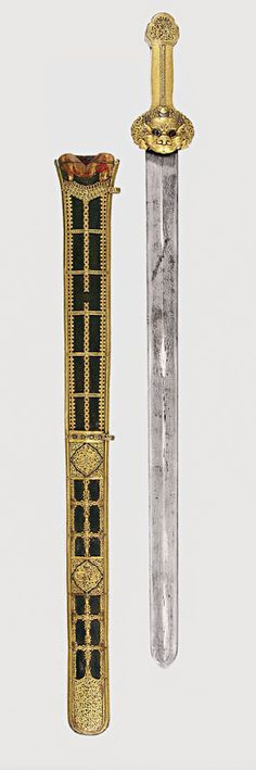Warriors of the Himalayas      Sword and Scabbard Probably Chinese, 14th–15th century Iron, gold, silver, wood, leather L. overall 35½ (90.3 cm), blade L. 30 in. (76.2 cm)  Royal Armouries Museum, Leeds