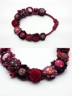 Fiber art necklace, statement eco friendly jewelry, crochet with fabric buttons… Fiber Art Jewelry, Textile Jewelry, Fabric Jewelry, Jewelry Art, Beaded Jewelry, Knitted Necklace, Ceramic Necklace, Fabric Necklace, Textiles