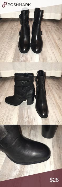 Calvin Klein Jeans Booties Black Calvin Klein Jeans booties. Worn one time! Slight wear shows on top of shoes (pictured). Calvin Klein Jeans Shoes Ankle Boots & Booties