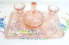 beautiful pink vintage pressed glass dressing table set by tillyandarthur on Etsy https://www.etsy.com/listing/492375156/beautiful-pink-vintage-pressed-glass