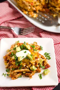 Slow cooker Mexican tortilla casserole. Sub with tempeh/chickpeas and cashew cream to make it vegan.