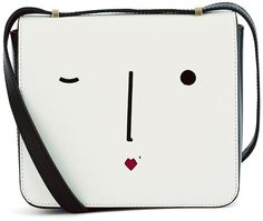 Lulu Guinness White Leather Marcie Face Bag