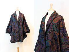 Vintage 1980s Multicolor Black Paisley Cape Coat