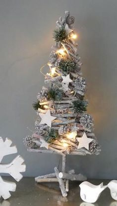 Driftwood Tree With Stars And Pine (LED Lights) by mac creative Diy Christmas Tree, Christmas Is Coming, Rustic Christmas, Xmas Tree, Simple Christmas, Handmade Christmas, Christmas Holidays, Christmas Wreaths, Christmas Ornaments