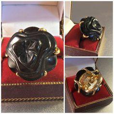 Sterling Black Coral Ring Italian Designer by LynnHislopJewels
