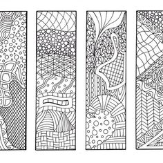 bookmarks to color zentangle inspired zendoodle art printable coloring digital download sheet 5