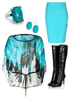 Tanya by christyking863 on Polyvore featuring polyvore moda style Roberto Cavalli Blumarine Sergio Rossi fashion clothing white black Boots teal turquoise