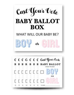 A personal favorite from my Etsy shop https://www.etsy.com/listing/398153379/gender-reveal-party-box-sign-and-ballot
