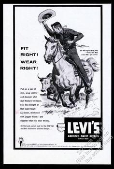 1958 Levi's Blue Jeans cowboy on horse herding cattle art vintage print ad Vintage Levis, Vintage Ads, Vintage Prints, Old Advertisements, Old Ads, Western Theme, Print Ads, Advertising Poster, Blue Jeans