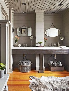 Old is new again as homeowners continue to desire recycled materials. To get the look, incorporate reclaimed-timber accents into vanities, flooring, ceilings, or walls; or opt for recycled-glass countertops for a bathroom style that's sustainable./