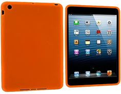 """Amazon.com: Caution Orange {Simple Matte Plain} Soft and Smooth Silicone Cute 3D Fitted Bumper Back Cover Gel Case for iPad Mini 1, 2 and 3 by Apple """"Durable and Slim Flexible Fashion Cover with Amazing Design"""": Computers & Accessories"""