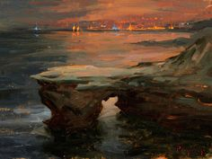 Sunset Cliffs At Night by Stanislav Prokopenko Painting Print on Wrapped Canvas