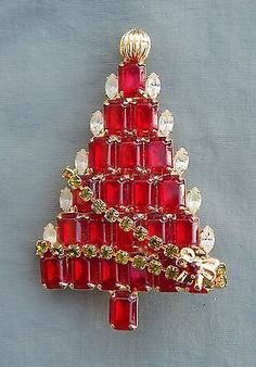 Vintage Signed Anthony Attruia  Red Rhinestone Christmas Tree Pin.