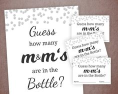 Excited to share the latest addition to my #etsy shop: Guess How Many M&M's Game Printable, Baby Shower Games, Silver Confetti, How Many Candies, Shower Activity, Chocolates, Cards and Sign B016 #babyshower #black #papergoods