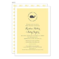 Yellow Whale Shower Invitations