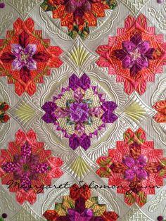 """Bouquet Royale"" (center of), finished (soon) 2015 www.quiltsoflove.blogspot.com Margaret Solomon Gunn"