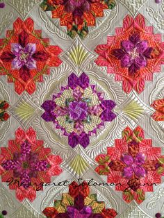 """Margaret Solomon Gunn quilt """"Bouquet Royale"""" (center of), finished (soon) 2015 Quilts of Love"""