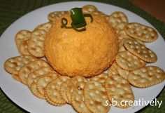 Cheeseball with goldfish crackers for crust