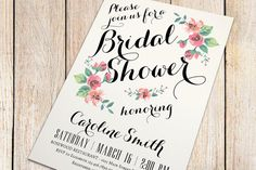 Printable Bridal Shower Invitation (ivory background) - Vintage Floral Invitation - Spring/Summer Bridal Shower