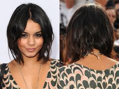 Messy, longer in the front shoulder-length bob.
