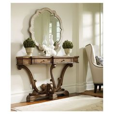 Skinny console table for an entryway or hall!