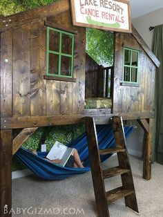 Camping Clubhouse loft bed DIY. Checkout the awesome hammock underneath.