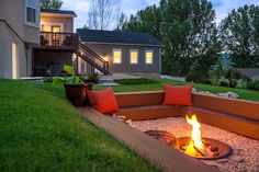 This time of year makes the most sense to have a fire pit in your backyard or outdoor living area. A fire pit with cozy seating area will be a perfect centerpiece of your backyard paradise. For before(Favorite Spaces Outdoor Living) Diy Fire Pit, Fire Pit Backyard, Backyard Patio, Backyard Landscaping, Landscaping Ideas, Backyard Seating, Garden Seating, Sunken Patio, Sunken Garden