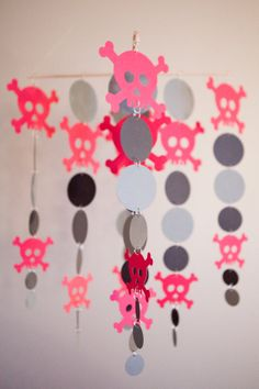 Hot Pink Skulls Mobile by LilSproutCreations on Etsy, $35.00