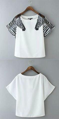 Fashion Zebra Print Short Sleeve Round Neck T-shirt – Mode für Frauen Fashion Colours, Fashion Details, Diy Fashion, Fashion Outfits, Womens Fashion, Fashion Design, Mode Outfits, Casual Outfits, Rosa T Shirt