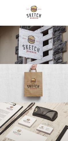 Sketch Burger logo proposal #sketch #burger #fast #food #fastfood #logo #design #identity #brand #illustration #graphic #kreatank