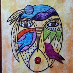 """Painted 8"""" x 10"""" canvas with original design hand embroidery"""