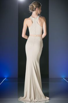 in khaki in store now.This floor length, sleeveless, high neck with razor back and mesh midriff is on trend. With it's elegant soft mermaid skirt you cannot go wrong. Halter Top Prom Dresses, Unique Dresses, Formal Dresses, Mermaid Skirt, Ball Gowns, Bodice, Elegant, Sexy, Skirts