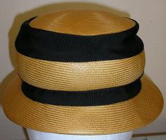 50s Schiaparelli NOS straw hat black ribbons by ChloeandNatalieVtg, $135.00