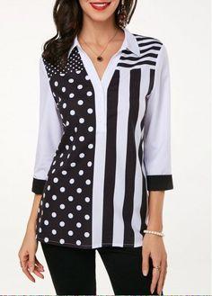 Spring Autumn Two Tone Blouse Shirt For Women Three Quarter Sleeve Turndown Collar Printed Blouse Stylish Tops For Girls, Trendy Tops For Women, Blouses For Women, Ladies Blouses, Women's Blouses, Trendy Fashion, Fashion Outfits, Fashion Top, Diy Clothing