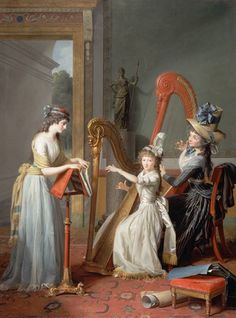 Les harpistes aka Les Mademoiselles d'Orléans. Jean-Antoine-Théodore Giroust (French, 1753-1817). Oil on canvas. The girl, age 14, playing the harp is Louise Marie Adélaide Eugènie d'Orléans, the daughter of the Duc d'Orléans. She wears the Phrygian hat, a symbol of the French revolution. The harp teacher is Madame de Genlis, celbrated harpist, writer, educator and governess. Turning the pages is la belle Pamela, Madame de Genlis' adopted (or possibly actual) daughter.