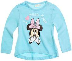 Tee Shirt asimétrico de manga larga bebé niña Minnie azul de 3a 24Meses azul azul Talla:18 meses #camiseta #friki #moda #regalo