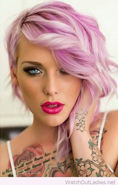 Light pink hair color, pink lips and blue eyes