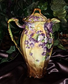 Image detail for -Magnificent Limoges Signed Chocolate Pot with Violets from ...