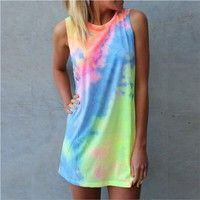 Size:S Color:Show Material:Ployster Weight:250g Features:1.Watercolor Print,Vest Dress 2¡¢S
