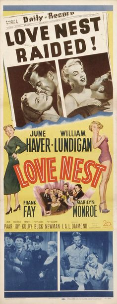 """Love Nest"" - June Haver, William Lundigan, Frank Fay and Marilyn Monroe. US Insert Movie Poster, June Haver, Marilyn Monroe Movies, Marylin Monroe, Bon Film, Movie Poster Art, Norma Jeane, Vintage Movies, Retro Vintage, Classic Movies"