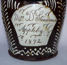 WETHERIGGS SCHOFIELDS SLIPWARE LARGE SALT PERSONALIZED 1892