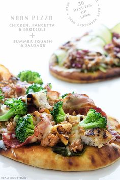 Chicken Pancetta and Broccoli Naan Pizza Pizza Recipes, Real Food Recipes, Cooking Recipes, Healthy Recipes, Broccoli Pizza, Chicken Broccoli, Naan Pizza, Pizza Pizza, Pizza Planet
