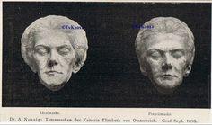 Dodenmasker(s) Elisabeth. Vraag mij af waarom er verschil zit tussen de linker en rechter masker. Waarschijnlijk is de tweede geretoucheerd? Geeft wel een goed beeld van Elisabeth's uiterlijk op latere leeftijd.
